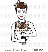 Vector Clip Art of Retro Brunette Housewife or Maid Lady Grinding Fresh Pepper by Andy Nortnik