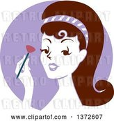 Vector Clip Art of Retro Brunette Lady Applying Blush, over a Purple Circle by BNP Design Studio