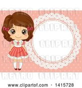 Vector Clip Art of Retro Brunette White Girl by a Round Frame on Pink by BNP Design Studio