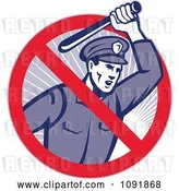 Vector Clip Art of Retro Brutal Police Officer and Prohibited Symbol by Patrimonio