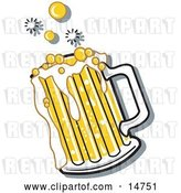Vector Clip Art of Retro Bubbly and Frothy Mug of Beer Spilling over the Rim of a Mug by Andy Nortnik