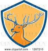 Vector Clip Art of Retro Buck Deer in a Blue White and Yellow Shield by Patrimonio