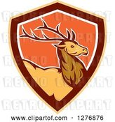 Vector Clip Art of Retro Buck Deer in a Brown Orange and White Shield by Patrimonio
