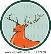 Vector Clip Art of Retro Buck Deer in a Green and White Circle by Patrimonio