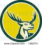 Vector Clip Art of Retro Buck Deer in a Green White and Yellow Circle by Patrimonio