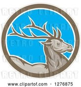 Vector Clip Art of Retro Buck Deer in a Taupe White and Blue Oval by Patrimonio