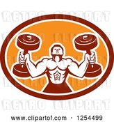 Vector Clip Art of Retro Buff Bodybuilder Lifting Heavy Weights in a Red and Orange Oval Shield by Patrimonio