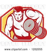 Vector Clip Art of Retro Buff Bodybuilder Lifting Heavy Weights over a Hexagon by Patrimonio
