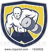 Vector Clip Art of Retro Buff Bodybuilder Lifting Heavy Weights over a Shield by Patrimonio