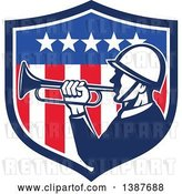 Vector Clip Art of Retro Bugler Soldier in an American Flag Shield by Patrimonio
