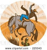 Vector Clip Art of Retro Bull and Cowboy Rodeo Logo by Patrimonio