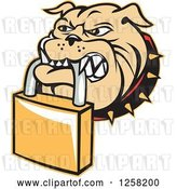 Vector Clip Art of Retro Bulldog Biting a Padlock by Patrimonio