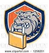 Vector Clip Art of Retro Bulldog Biting a Padlock in a Shield by Patrimonio
