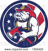 Vector Clip Art of Retro Bulldog Firefighter Holding an Axe in an American Flag Circle by Patrimonio