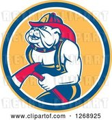 Vector Clip Art of Retro Bulldog Firefighter Holding an Axe in an Orange Blue and White Circle by Patrimonio