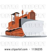 Vector Clip Art of Retro Bulldozer Machine 2 by Patrimonio