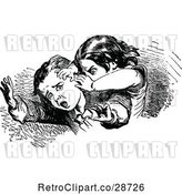 Vector Clip Art of Retro Bully Attacking a Boy by Prawny Vintage