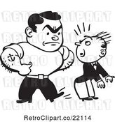 Vector Clip Art of Retro Bully Guy Kicking Another in the Butt by BestVector