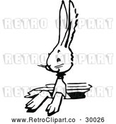 Vector Clip Art of Retro Bunny in a Hole by Prawny Vintage