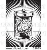 Vector Clip Art of Retro Burst of Bright Light Around a Human Brain Floating in a Jar in a Science Lab by Lawrence Christmas Illustration