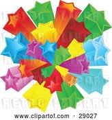 Vector Clip Art of Retro Burst of Rainbow Colored Red, Green, Yellow, Orange, Blue and Purple Stars over a White Background by KJ Pargeter
