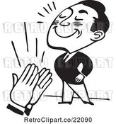 Vector Clip Art of Retro Business Man Being Applauded by BestVector