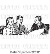 Vector Clip Art of Retro Business Man Discussing Plans with a Couple by BestVector