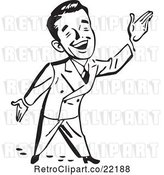 Vector Clip Art of Retro Business Man Gesturing up to the Right by BestVector