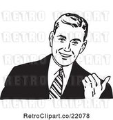 Vector Clip Art of Retro Business Man Gesturing with His Thumb by BestVector