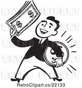 Vector Clip Art of Retro Business Man Holding a Coin and Cash by BestVector