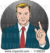 Vector Clip Art of Retro Business Man Holding up a Finger over Halftone by Patrimonio