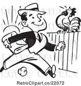 Vector Clip Art of Retro Business Man Passing a Rooster on a Fence by BestVector