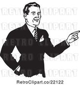 Vector Clip Art of Retro Business Man Pointing by BestVector