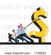 Vector Clip Art of Retro Business Man Pulling Against a Dollar Symbol by Patrimonio
