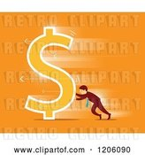 Vector Clip Art of Retro Business Man Pushing a Dollar Symbol over Orange by Qiun