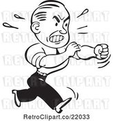 Vector Clip Art of Retro Business Man Rolling up His Sleeves to Fight by BestVector