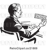 Vector Clip Art of Retro Business Man Sitting at a Desk and Holding a Check by BestVector