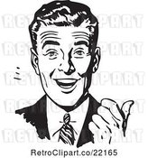 Vector Clip Art of Retro Business Man Smiling and Gesturing with His Thumb by BestVector