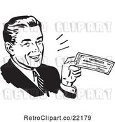 Vector Clip Art of Retro Business Man Smiling and Holding a Check by BestVector
