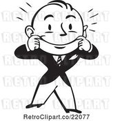 Vector Clip Art of Retro Business Man Stretching His Mouth into a Smile by BestVector