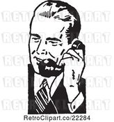 Vector Clip Art of Retro Business Man Using a Phone - 5 by BestVector