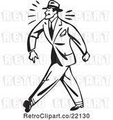 Vector Clip Art of Retro Business Man Walking Tough by BestVector