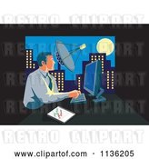 Vector Clip Art of Retro Business Man Working on a Computer in an Urban Office by Patrimonio