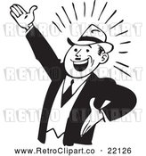 Vector Clip Art of Retro Businessman Gesturing up Left by BestVector
