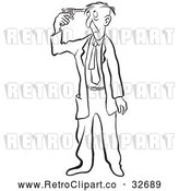 Vector Clip Art of Retro Businessman Holding a Gun to His Head by Picsburg