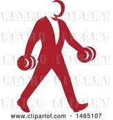 Vector Clip Art of Retro Businessman in a Suit, Power Walking and Carrying Dumbbells, in Style by Patrimonio