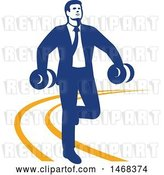 Vector Clip Art of Retro Businessman Power Walking with Dumbbells on an Orange Lined Path by Patrimonio