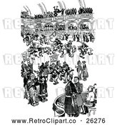 May 9th, 2018: Vector Clip Art of Retro Busy Scene by Prawny Vintage