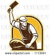 Vector Clip Art of Retro Butcher Cutting a Ham over an Arch of Rays by Patrimonio