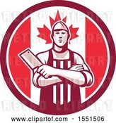 Vector Clip Art of Retro Butcher Holding a Cleaver in Folded Arms Inside a Canadian Flag Circle by Patrimonio